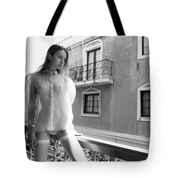 Girl On Balcony Tote Bag