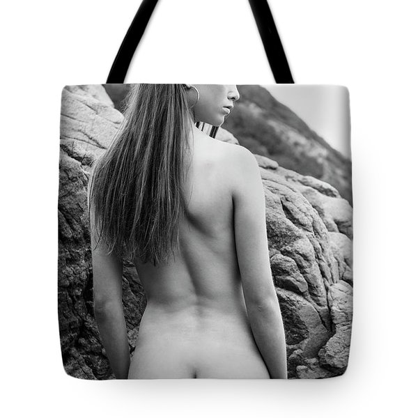 Girl On The Rocks Tote Bag