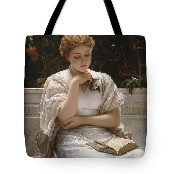 Girl Reading Tote Bag by Charles Edward Perugini