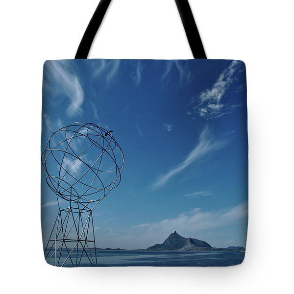 Globe Symbol View  On Sky Background In Norway Tote Bag