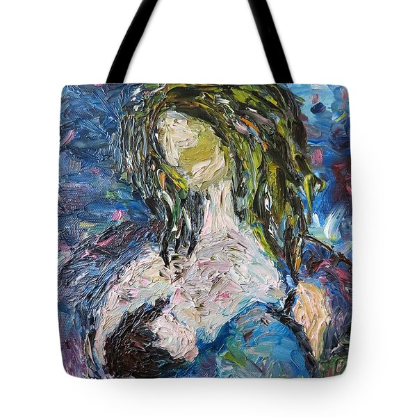 Tote Bag featuring the painting God Bless The Baby by Reina Resto