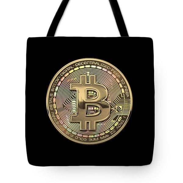 Gold Bitcoin Effigy Over Black Canvas Tote Bag
