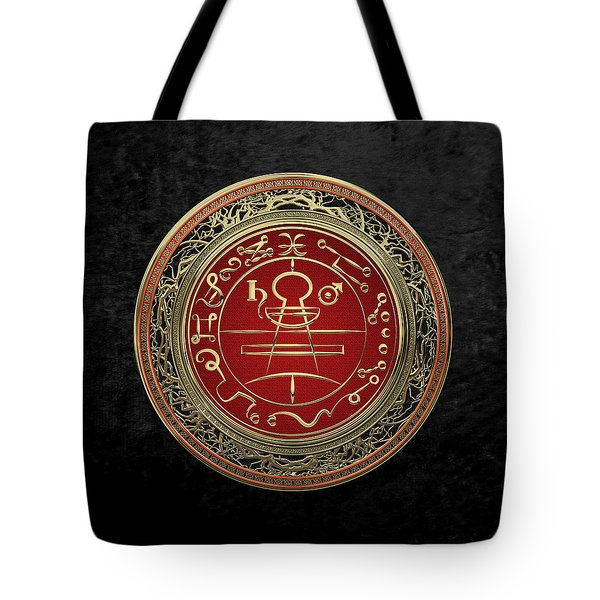 Gold Seal Of Solomon - Lesser Key Of Solomon On Black Velvet  Tote Bag