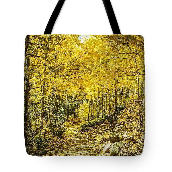 Golden Aspens In Colorado Mountains Tote Bag