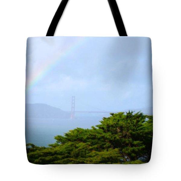 Golden Gate Bridge By Rainbow Tote Bag