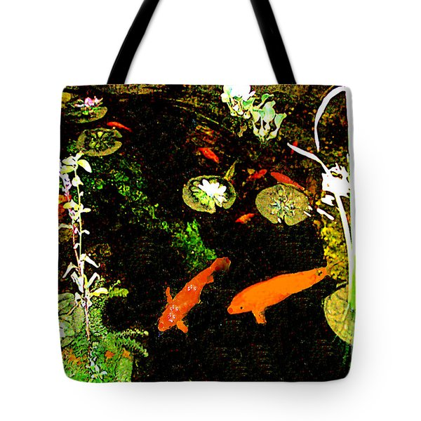 Tote Bag featuring the photograph Goldfish Pond by Merton Allen