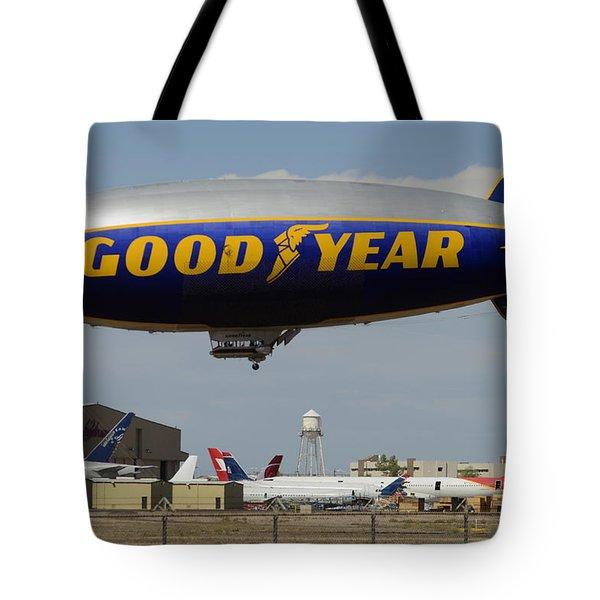 Goodyear Blimp Spirit Of Innovation Goodyear Arizona September 13 2015 Tote Bag