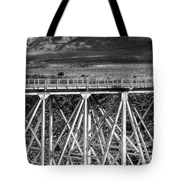 Gorge Bridge Black And White Tote Bag