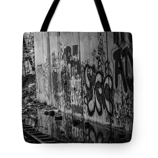 Graffitti And Train Tracks Tote Bag