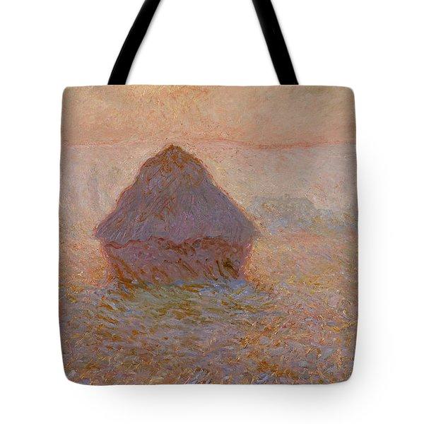 Grainstack, Sun In The Mist 1891 Tote Bag