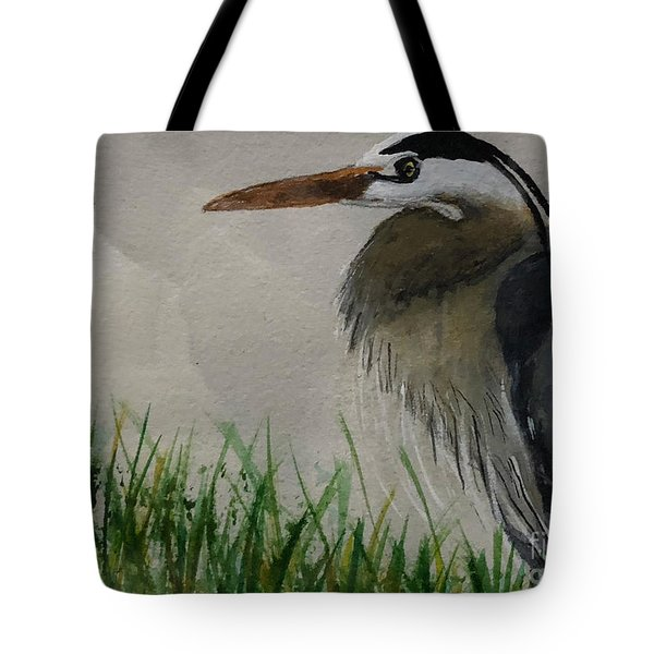 Tote Bag featuring the painting Great Blue Heron by Donald Paczynski