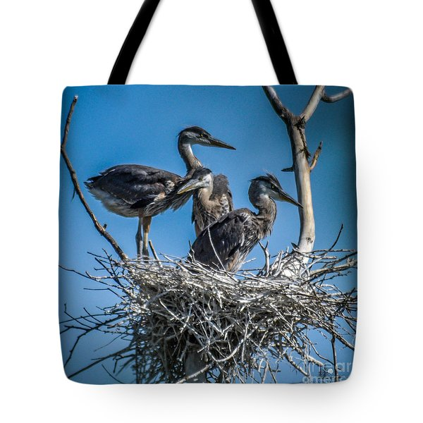 Great Blue Heron On Nest Tote Bag
