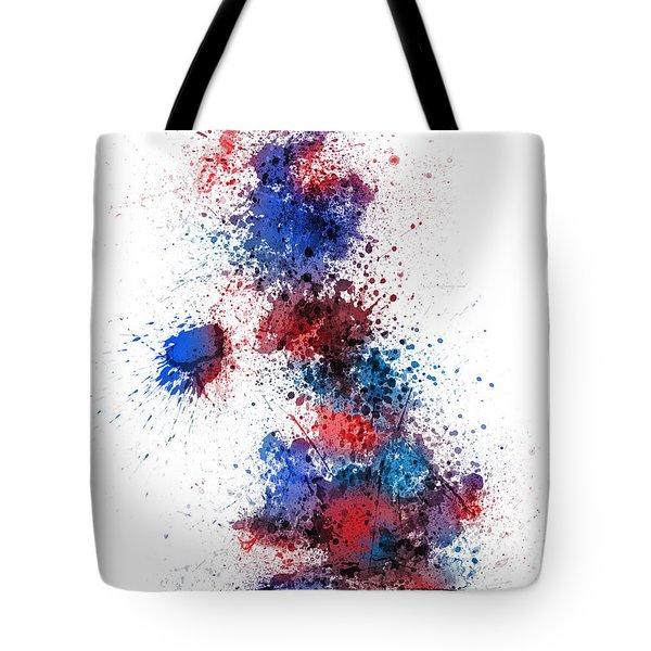 Great Britain Uk Map Paint Splashes Tote Bag