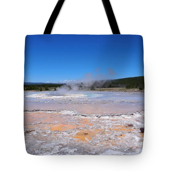 Great Fountain Geyser In Yellowstone National Park Tote Bag by Louise Heusinkveld