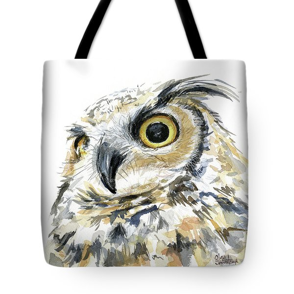 Great Horned Owl Watercolor Tote Bag