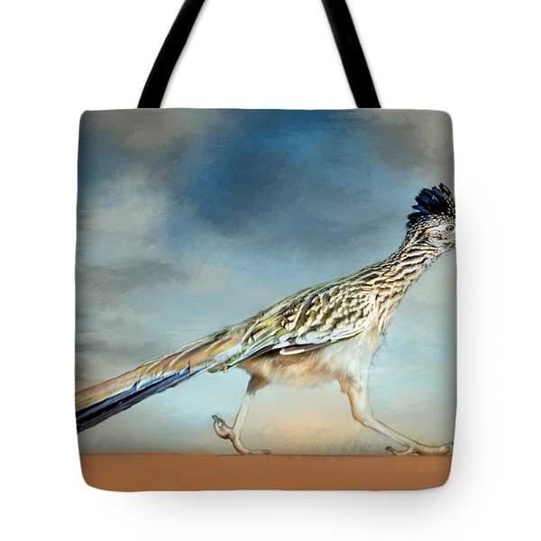 Tote Bag featuring the painting Greater Roadrunner by Barbara Manis