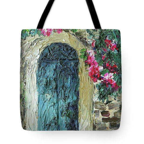 Green Italian Door With Flowers Tote Bag