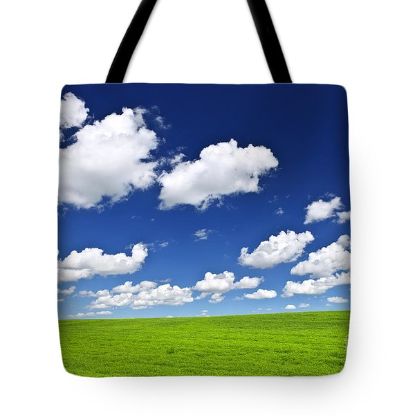 Green Rolling Hills Under Blue Sky Tote Bag