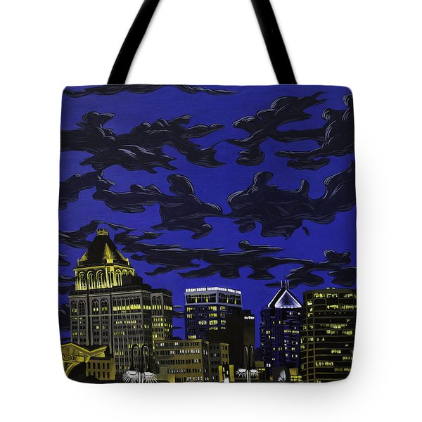 Greensboro Night Skyline Tote Bag