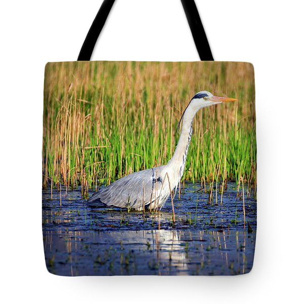 Grey Heron, Ardea Cinerea, In A Pond Tote Bag by Elenarts - Elena Duvernay photo