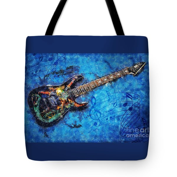 Tote Bag featuring the digital art Guitar Love by Ian Mitchell