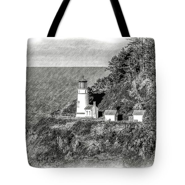 Tote Bag featuring the tapestry - textile Haceta Head Lighthouse by Dennis Bucklin
