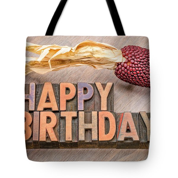 Happy Birthday Greetings Card In Wood Type Tote Bag