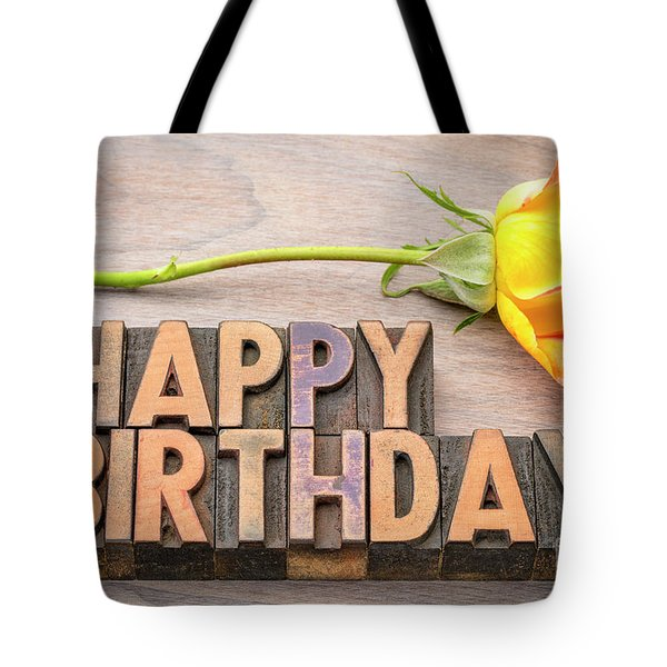 Happy Birthday Greetings In Wood Type Tote Bag