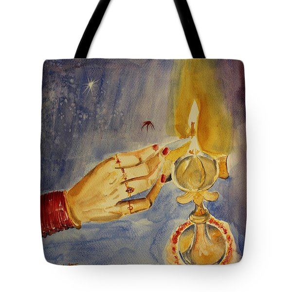 Tote Bag featuring the painting Happy Diwali by Geeta Biswas