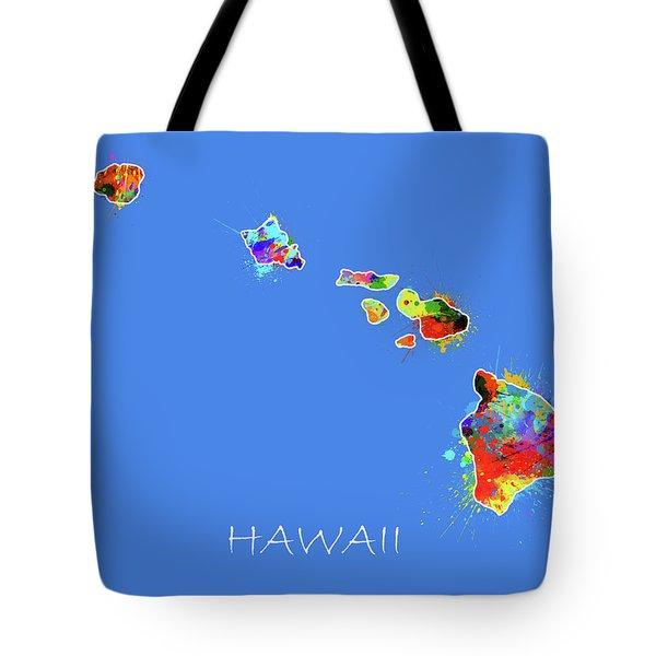 Hawaii Map Color Splatter Tote Bag