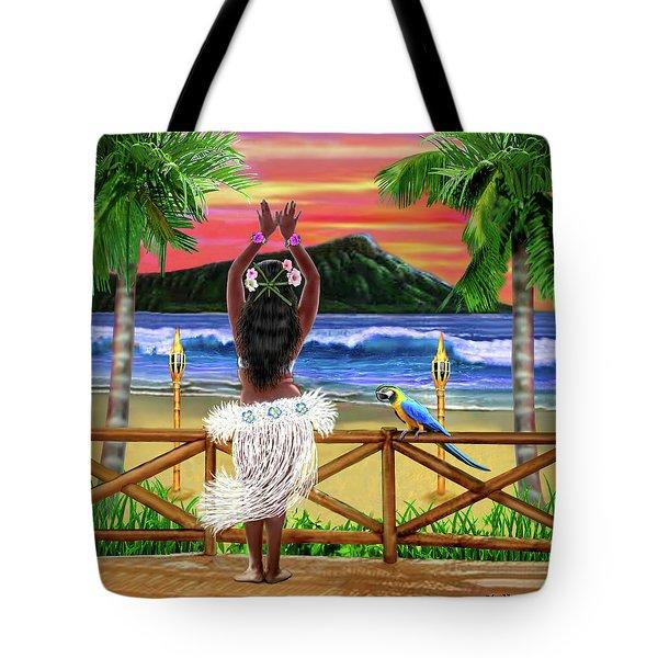 Hawaiian Sunset Hula Tote Bag by Glenn Holbrook