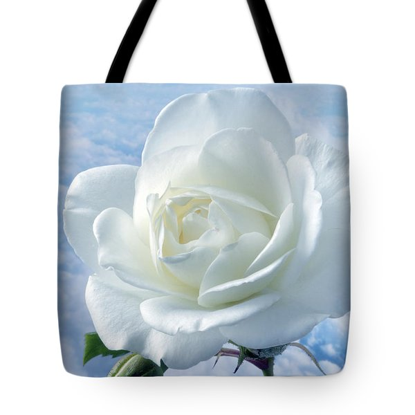 Heavenly White Rose. Tote Bag by Terence Davis