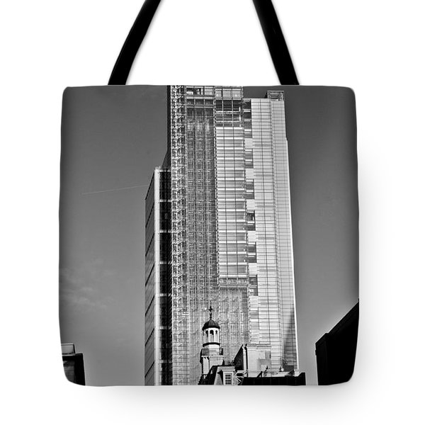 Heron Tower London Black And White Tote Bag by Gary Eason