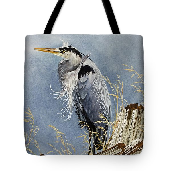 Tote Bag featuring the painting Herons Windswept Shore by James Williamson
