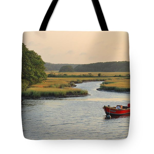 Herring River And Red Boats Cape Cod Tote Bag