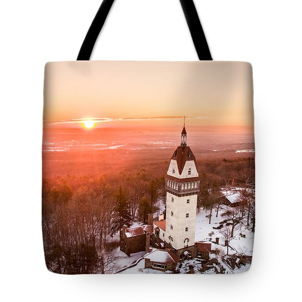 Heublein Tower In Simsbury, Connecticut Tote Bag by Petr Hejl