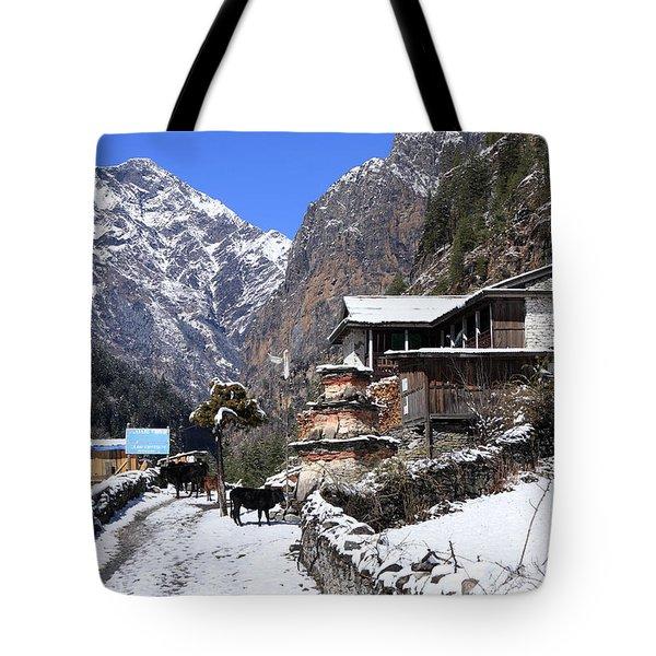 Himalayan Mountain Village Tote Bag by Aidan Moran