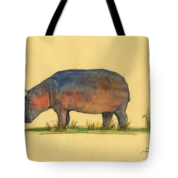 Hippo Watercolor Painting  Tote Bag