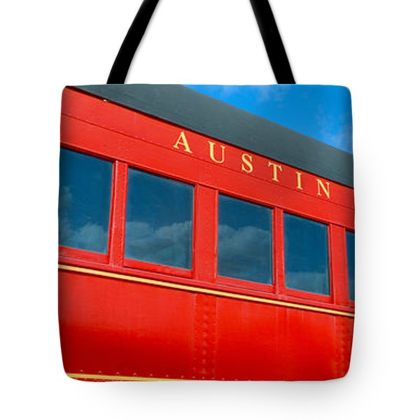 Historic Red Passenger Car, Austin & Tote Bag