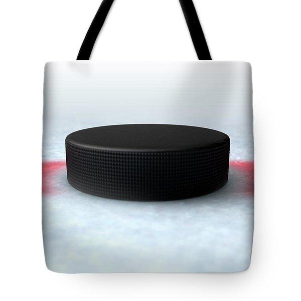 Hockey Puck Centre Tote Bag