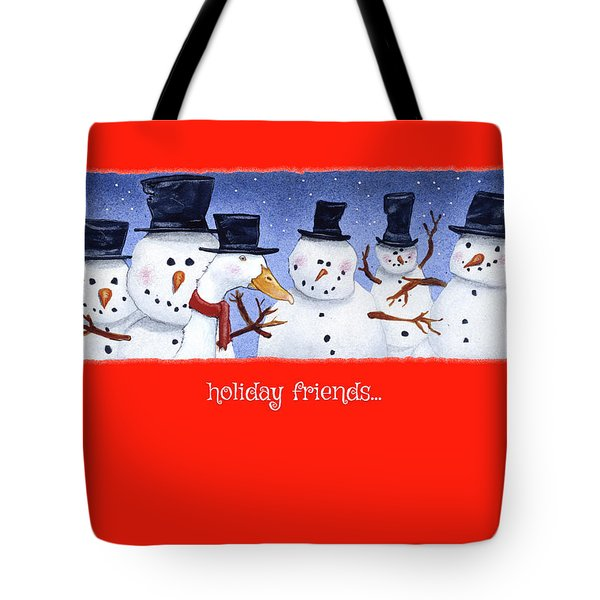Tote Bag featuring the painting Holiday Friends... by Will Bullas