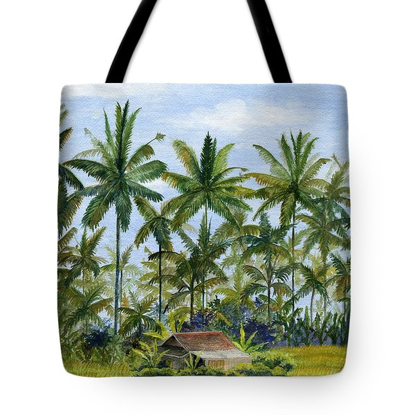 Tote Bag featuring the painting Home Bali Ubud Indonesia by Melly Terpening