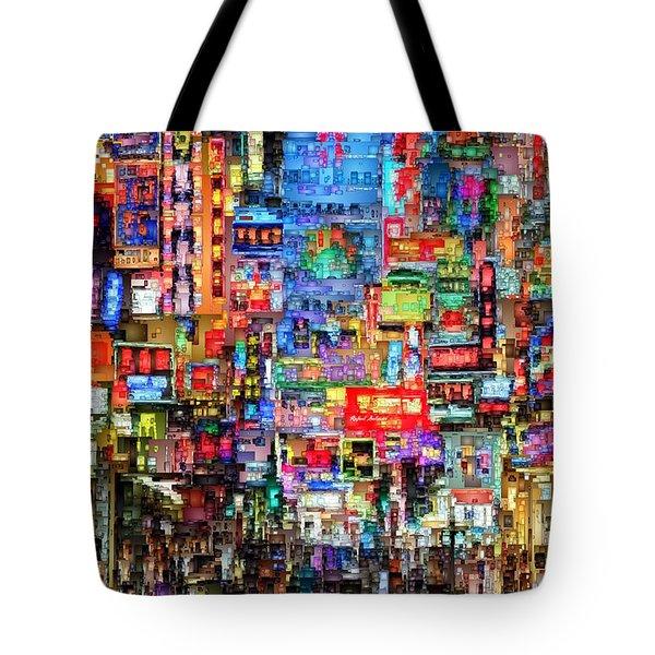 Hong Kong City Nightlife Tote Bag
