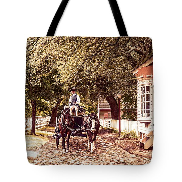 Horse Drawn Wagon Tote Bag