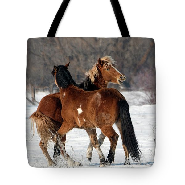 Tote Bag featuring the photograph Horseplay by Mike Dawson