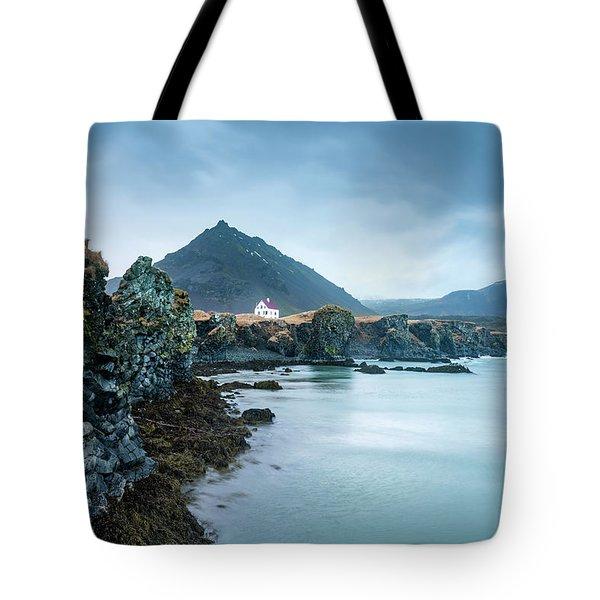 House On Ocean Cliff In Iceland Tote Bag by Joe Belanger