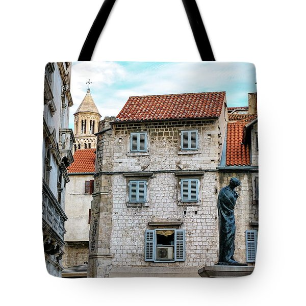 Houses And Cathedral Of Saint Domnius, Dujam, Duje, Bell Tower Old Town, Split, Croatia Tote Bag by Elenarts - Elena Duvernay photo