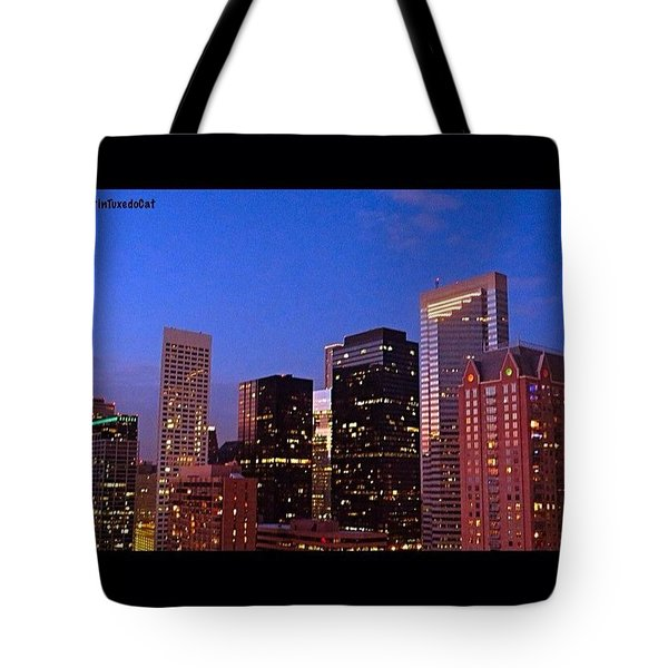 #houston #skyline At Dusk. #night Tote Bag