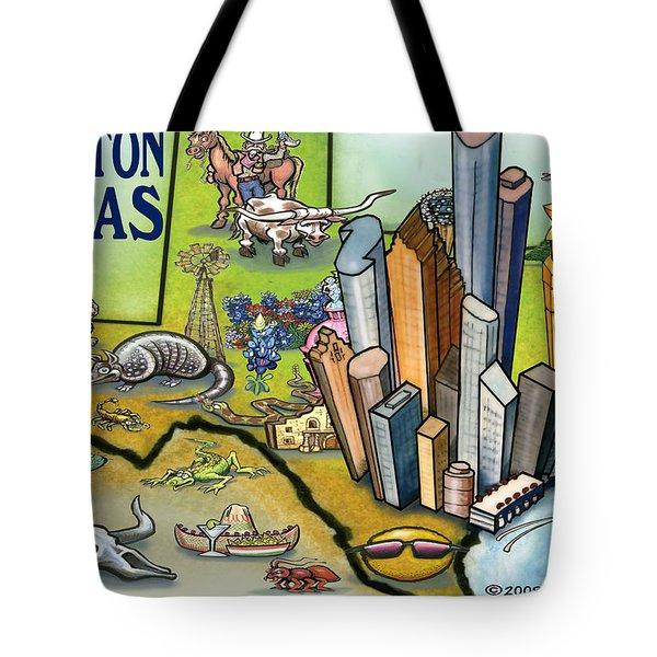 Houston Texas Cartoon Map Tote Bag