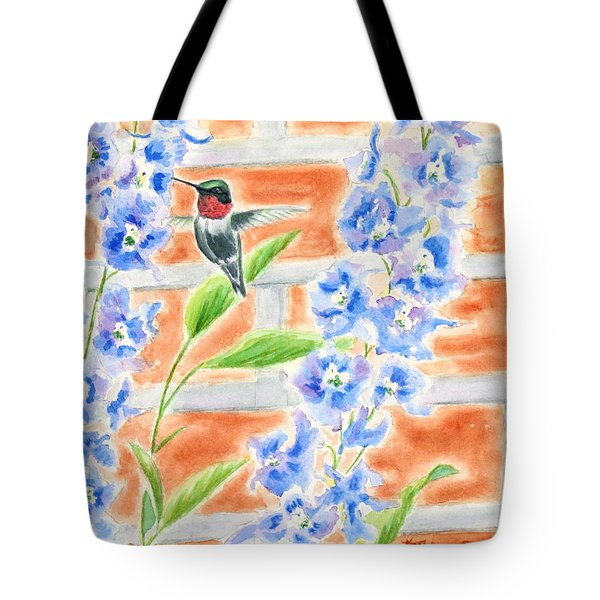 Hummer And Delphiniums Tote Bag by Kathryn Duncan